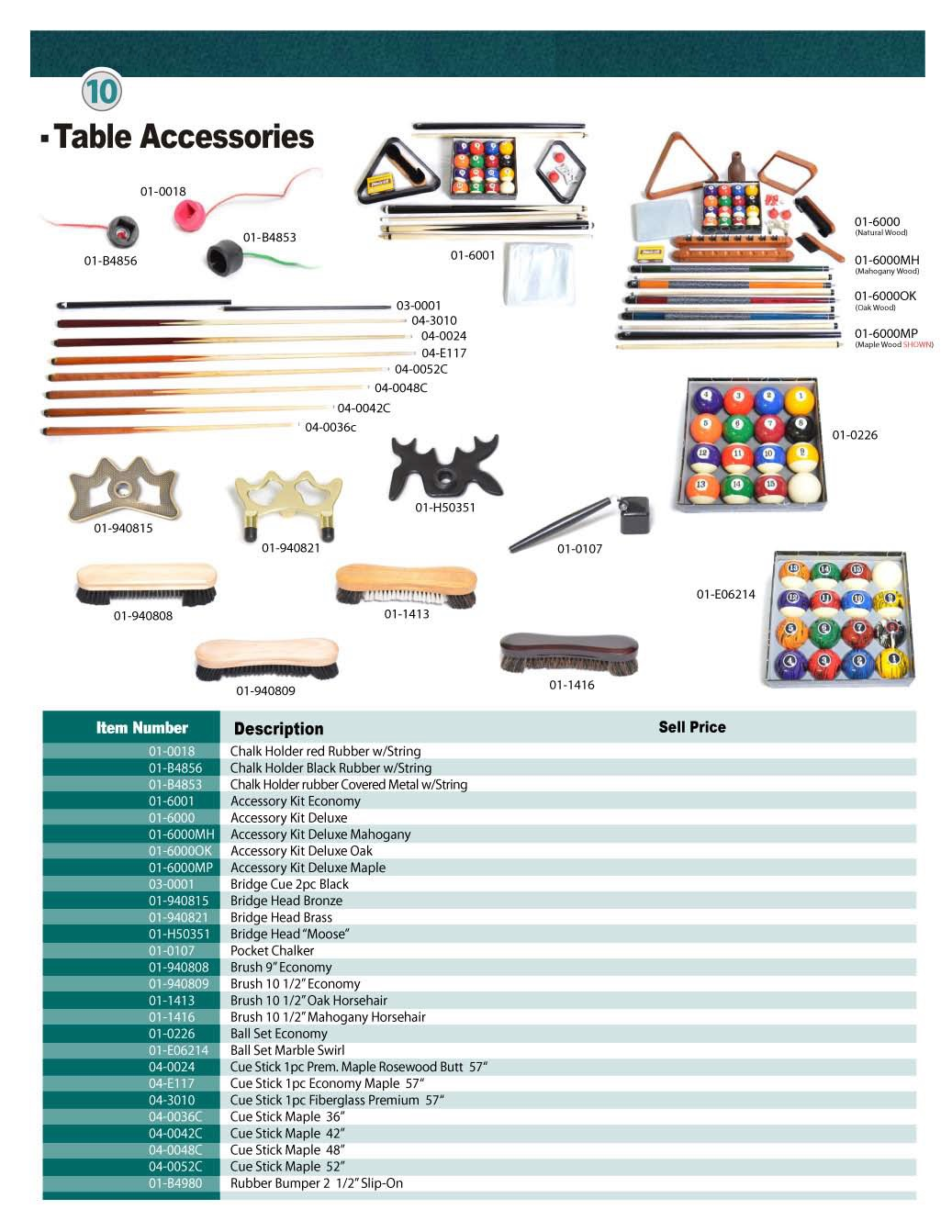 Billiard Accessories And Component Parts Catelog DB Entertainment - Billiard table and accessories