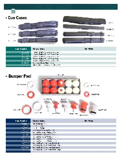 Billiard Accessories And Component Parts